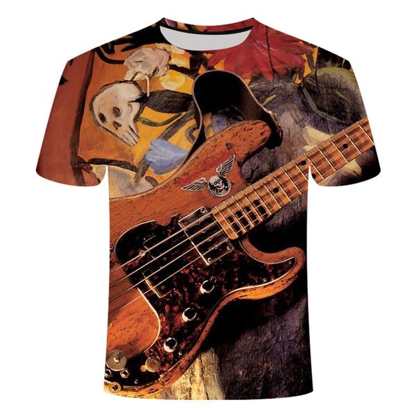 Women Men Casual T-Shirt 3D Print Guitar Instrument Short Sleeve Plus Size Tops