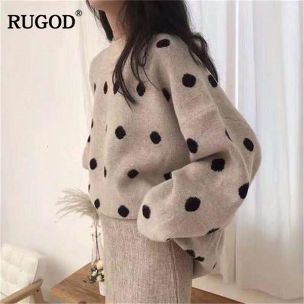 RUGOD Mode Stricken Pullover Frauen 2019 Herbst-Winter-O-Ausschnitt Langarm Pullover Lady Dots Print Pullover Jersey mujerMX190928