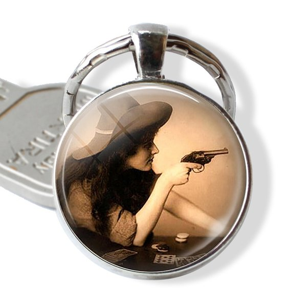Wild West Cowgirl Jewelry - Cow Girl Glass Dome Pendant - Poker Player Plated Silver Keychain- Gambler Gift