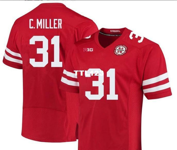 CUSOM Men Nebraska Cornhuskers Collin Miller #31 real Full embroidery College Jersey Size S-4XL or custom any name or number jersey