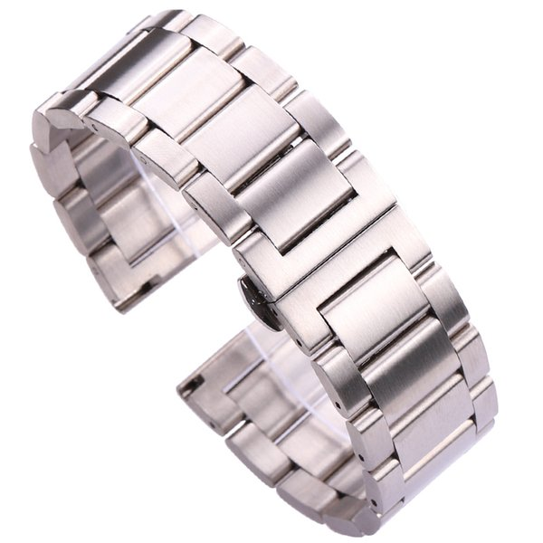 Metal Watch Band Strap Men High Quality Stainless Steel Watchband Link Bracelet Double Fold Deployment Clasp 18mm 20mm 21mm 22mm 23mm 24mm