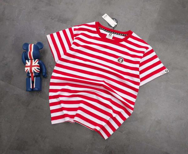 Premium brand women's T-shirt loose short-sleeved shirt round neck striped T-shirt couple models C013