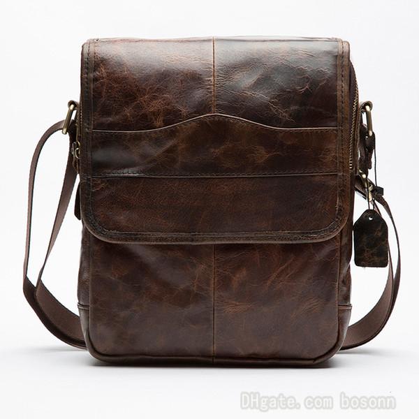 Genuine Leather Messenger Bag for Man Vintage Brand Business Crossbody Shoulder Bags Designer Purse Vertical Satchel Four Colors