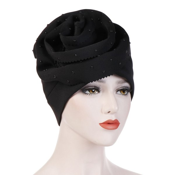 New Fashion Women Elastic Muslim Turban Cotton Hijab Solid Color Beanies Hat Islamic Jersey Beads Cap 2019