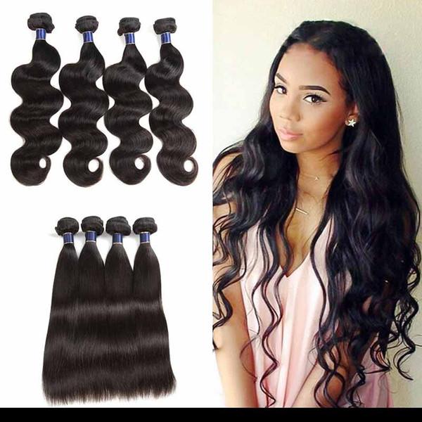 8A tramas de cabello humano Remy brasileño recto 3/4 / 5pcs / lot Paquetes de onda de cuerpo de cabello virgen indio de Mongolia brasileña baratos 50 g / pcs
