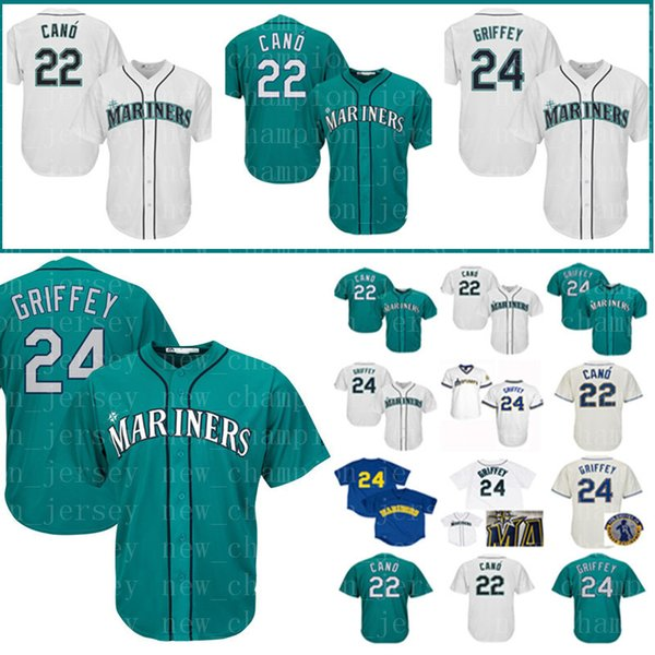 Men's Seattle Jersey Mariners 24 Ken Griffey Jr. 22 Robinson Cano Baseball Jerseys adult Embroidery Logos Stitched jerseys Cheap Sale