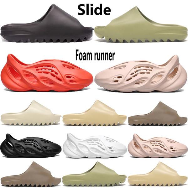 top popular New foam runner kanye west mens slipper sandal shoes resin bone triple black white desert sand Earth Brown men women stylist sandals 2020