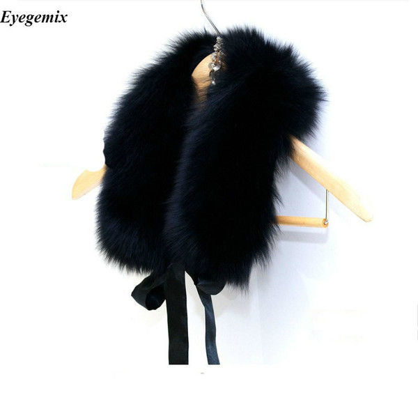Luxury Fur Collar Women New 2017 Winter Fashion Ladies Brand Fake Fox Faux Fur Scarf Shawl Scarves and Stoles 52CM Black White D19011004