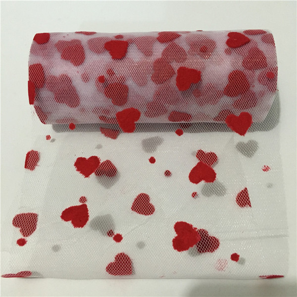 15CM 10Yards Glitter Heart Tulle Mesh Roll Spool Squine Tulle Chair Skirt DIY Wedding Birthday Decor Supplie