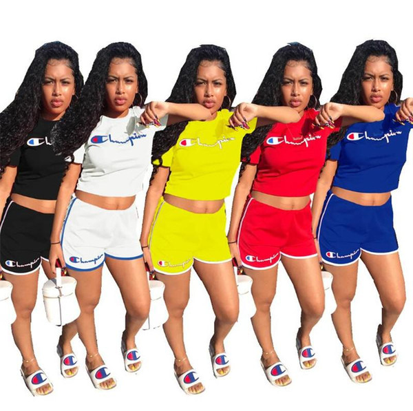 Women Summer Tracksuit Champions Letter Short Sleeve Printed 2Pcs Set T-shirt Crop Top +Shorts Pants Sportswear Fashion Lady Outfits
