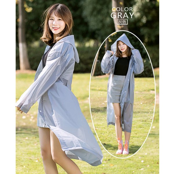 2019 New Fashion EVA Women Raincoat Thickened Waterproof Rain Coat Women Clear Transparent Camping Tour Waterproof Rainwear Suit