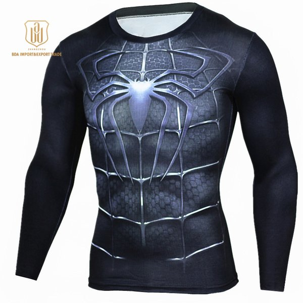 Ropa deportiva al aire libre de alta elasticidad New Batman cuello redondo de secado rápido ropa transpirable hombres deportes Fitness Activewear camisetas
