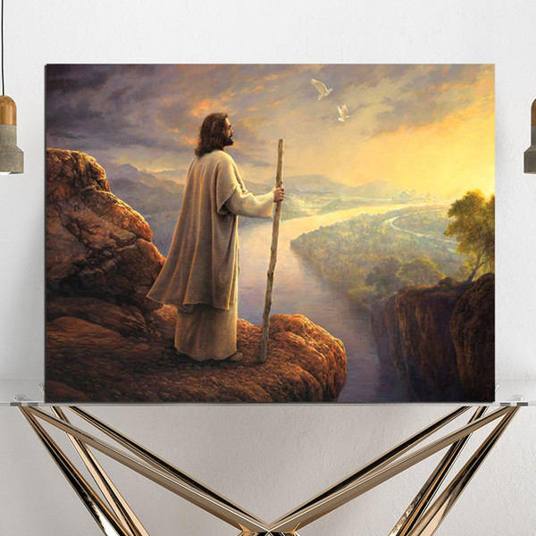 Jesus And Nature Hamilton Mountain Church Canvas Posters Prints Wall Art Painting Decorative Picture Modern Home Decoration Accessories HD