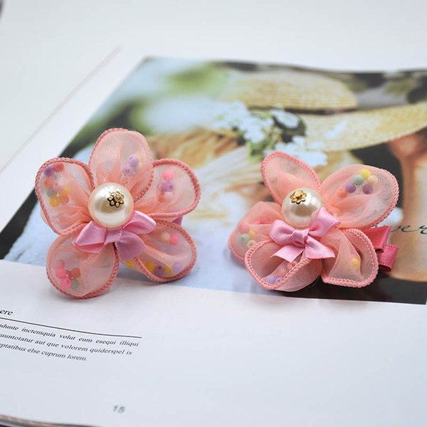 fashion lace Flower girls hair ties pearl kids hair clips princess kids Barrettes baby BB clips designer hair accessories for girls A5645