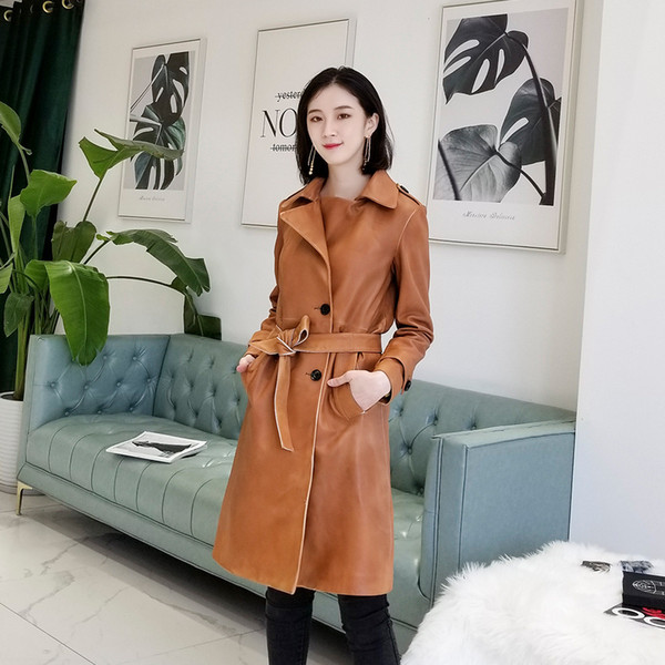 Cool 2019 Restore Ancient Ways Do Used Major Suit Feel Sheep Skin Genuine Leather Clothing Loose Coat Long Fund Go Excellent Woman Waist