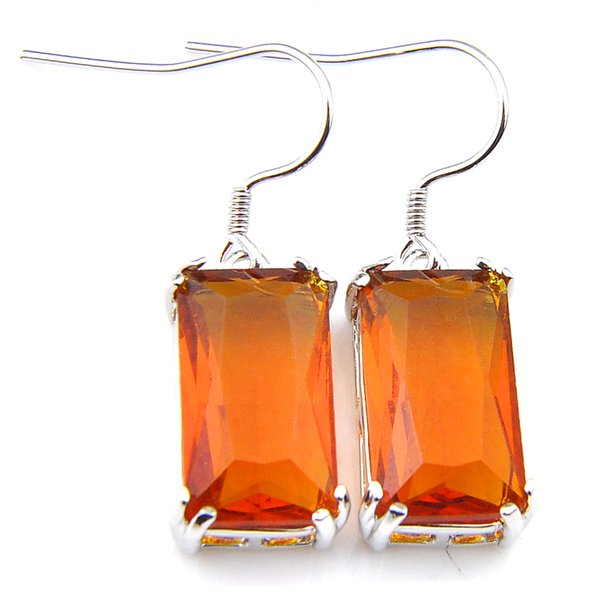 Wholesale 6 Pairs Luckyshine rectangle Classic Brazil Citrine Gems 925 Sterling Silver Plated Dangle Earrings Jewelry Size 15*8 mm