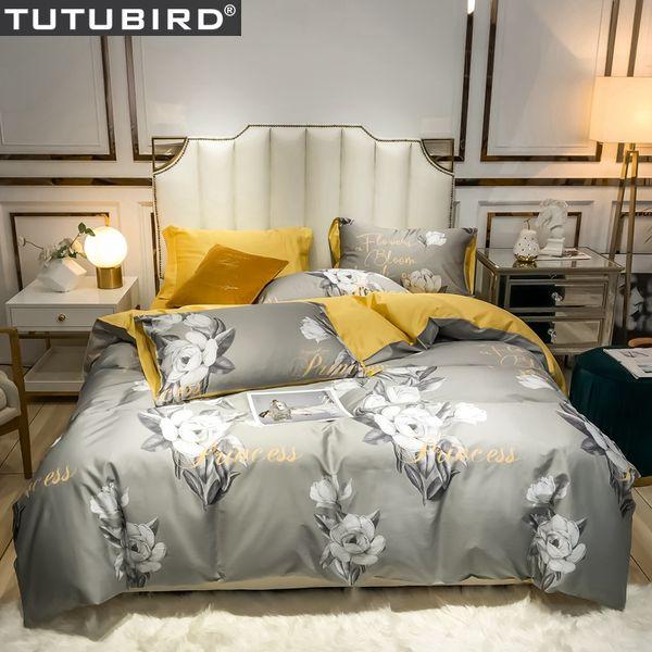 Gri çiçek baskı çarşaflar kız Lüks Mısır pamuk yataklar yatak örtüsü kraliçe yatak seti saten pastoral nevresim set