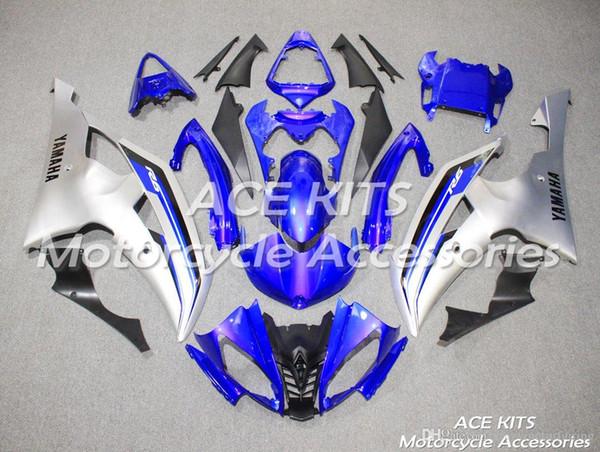 ACE KITS carénage de moto pour YAMAHA YZF R6 2008-2016 injection ou compression carrosserie choquant bleu argent NO.2275