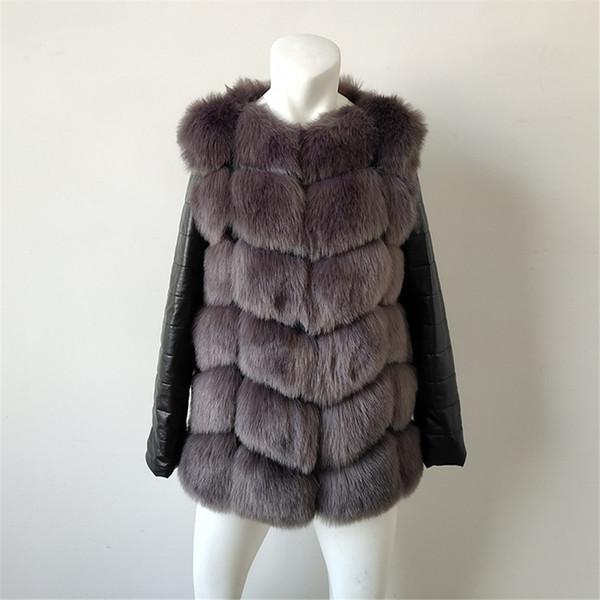 Hot Mulheres Moda Inverno Imitação Fox casaco de pele PU Couro manga comprida Jacket Mantenha Senhora Quente Outwear Casual Overcoat NZ19.9-212