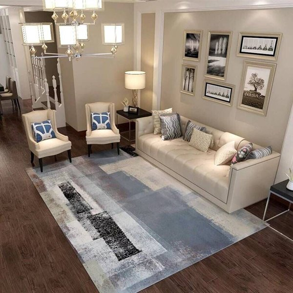 Nordic Simple Geometric Pattern Rugs Carpets For Living Room Bedroom Area  Rugs Gray White Sofa Table Chair Anti Slip Floor Mats Discount Carpet Tiles  ...