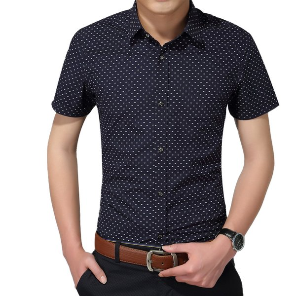 Hot 2019 Summer New Fashion Brand Clothing Men Short Sleeve Shirt Polka Dot Slim Fit Shirt 100% Cotton Casual Shirts Men M-5xl Q190429