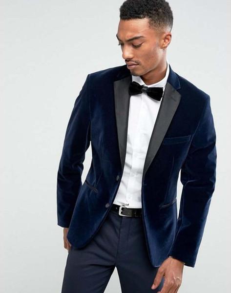 Bavy Blue Velvet Groom Tuxedos Notch Laspel Groomsmen Wedding Dress Autumn Winter Style Men Formal Party Prom Suit(Jacket+Pants+Tie) 807