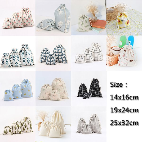 15 Styles Handmade Drawstring Cotton Linen Storage Bag Tea/Candy/Key/Jewelry Organizer Makeup Cosmetic Coins Small Cloth Bag