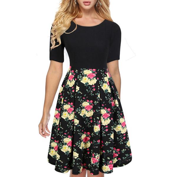 Wholesale American 1950s Dresses Spring Fat Ladies Plus Size Floral Prints  Skater Dresses Cotton Dress Womens Dress From Xuejiaoyan, $17.09| ...