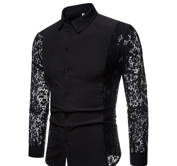 Designer camisa Black Dress Lace manga comprida medusa Nightclub Prom união camiseta Camisas Masculina