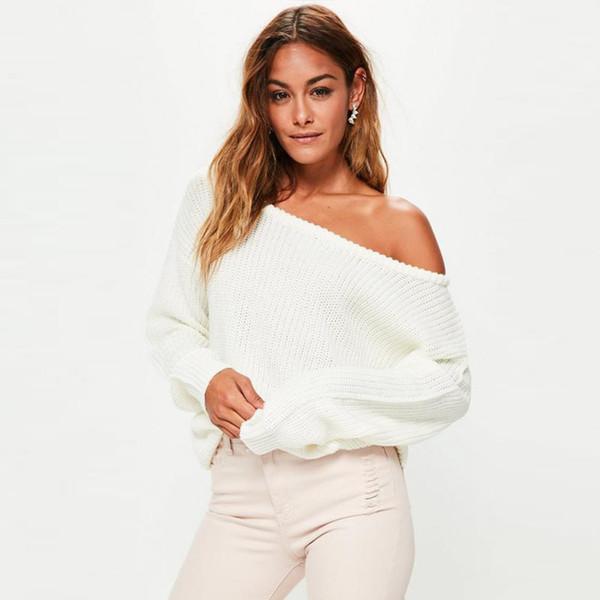 2018 новые женские свитера и пуловеры вязаный женский свитер с вырезом на шее трикотаж с длинным рукавом одно плечо свитера тянуть AW091