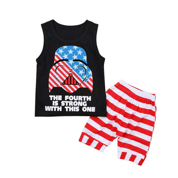NEW Kids Boys Black Sleeveless Tops White Red Strips Shorts 2pieces Suits THE FOURTH IS STRONG WITH THIS ONE Letters Printing Outfits 0-5T