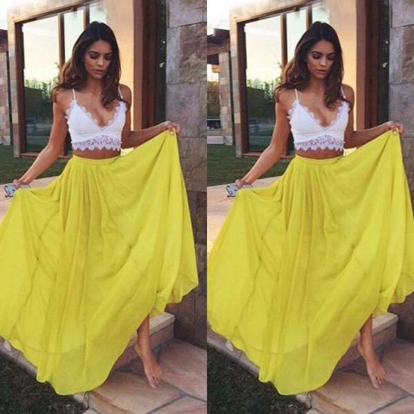 Two Pieces Modest Prom Dress Boho Yellow Sexy Spaghetti Straps V Neck Chiffon Summer Holiday Party Evening Gowns Cheap china robes de soirée