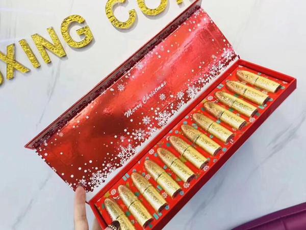 12pcs Lipstick Set Merry Christmas Snow Matte Lipstick Set With Red Box J2215