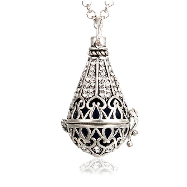 1pc Vintage Silver Hollow Water Drop with Crystal Copper Open Beads Cage Locket Essential Oil Aroma Diffuser Pendant Necklace
