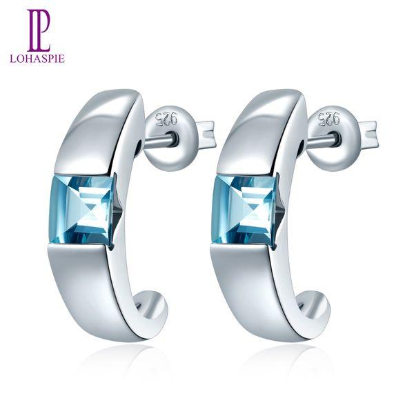 Твердые 925 стерлингового серебра серег площади 1,12 CT Подлинная Gemstone Синий Аквамарин Fine Jewelry для горячей продажи женской моды партия подарков