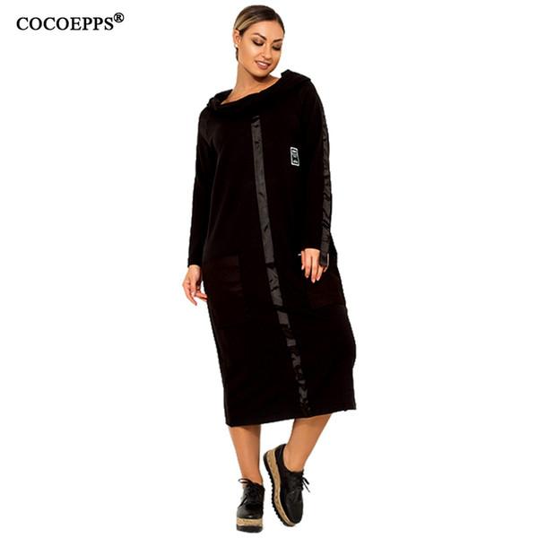 2018 New 5xl 6xl Big Size Women Dress Winter Long Maxi Dress Plus Size Loose Clothes Femme Casual Dress Elegant Vestidos Largo T190411