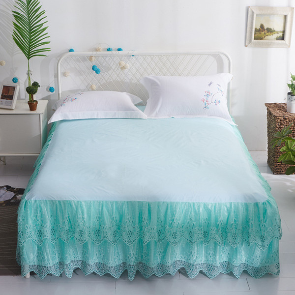 Green Bed Skirt Queen.2019 Lace Bed Skirt Queen Bed Skirt Pink Bed Skirt Sale 200x220ccm King Size Home Textile One Piece Bedding Green Bedskirt Lace Bedskirt From