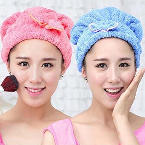hot!Useful Quick Dry Super Absorbent Microfiber Bathing Hair Drying Hat Turban Towel