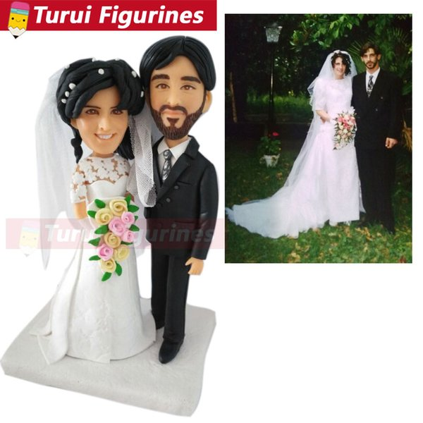 Custom Wedding Couple Bobblehead That Look Like You from photos wedding cake toppers silhouette polymer clay dolls figurines