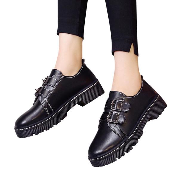 Ladies Single Shoes Boots Belt Buckle Women's Black Leather Shoes Round Toe scarpe donna eleganti#E3