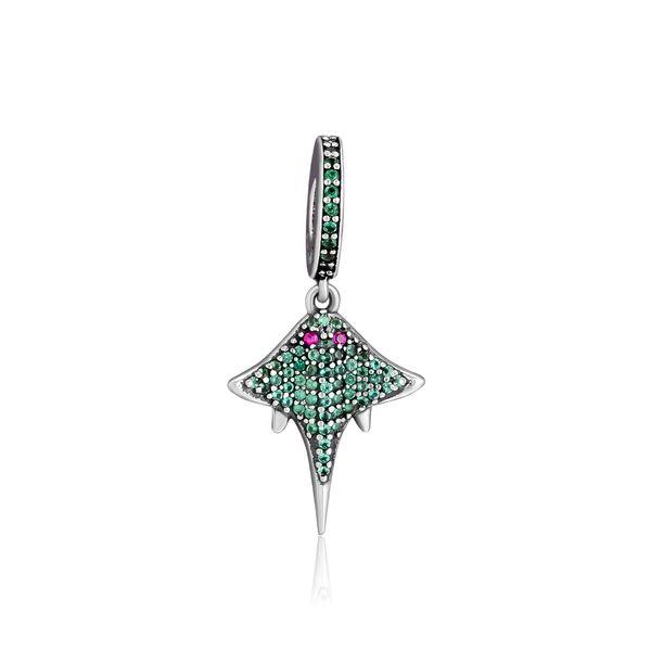 CKK 100% 925 Sterling-Silver Mobula Dangle Charm,Tropical Raza DIY Fits for Making Charms Bracelets
