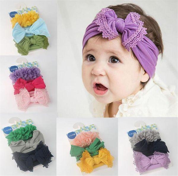 Baby Girls 3pcs/set Headbands lace Bow flower cartoon Turban Infant Elastic Hairbands Children Headwear kids Hair Accessories C01