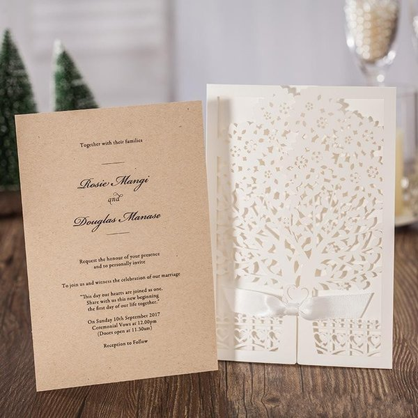 New Creative Laser Cut Wedding Invitations Cards Elegant Hollow Flower Greeting Card Bridal Envelope With Bow Hot Sale 4ws Personalized Holiday Cards
