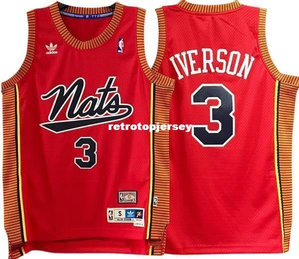 ALLEN IVERSON #3 Red Sewn high quality 'NATS' Retro Vintage Top JERSEY Mens Vest Size XS-6XL Stitched basketball Jerseys Ncaa