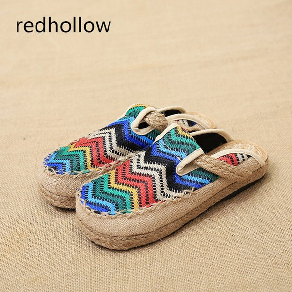 Summer Women Casual Shoes Flats Round Toe Flat Women Slippers Slip On Flat Shoes Femal Mujer Retro Ethnic Slippers Female