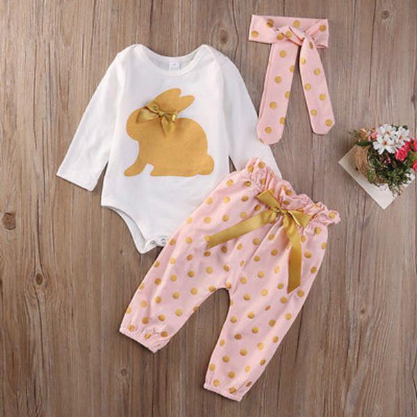 Bebê recém-nascido Kid Menina roupas conjunto Floral manga longa Macacão 3 pcs Calças de impressão + headwear Outfit Set roupas3 Pcs new cute Bebê Recém-nascido Infantil