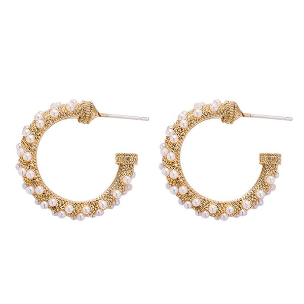 Personalized fashion C-shaped inlaid pearl earrings simple design ear ring popular retro palace wind earrings