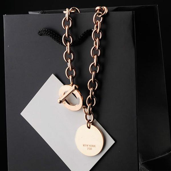 2019 Amour collier mode titane acier couple bijoux NEWROK chaîne épaisse OT boucle ronde pendentif collier