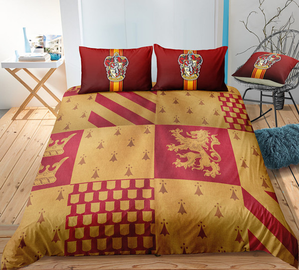 Thumbedding Harry Potter Bedding Set Yellow Magic Design Duvet Cover Set Queen Twin Full Single Double Animal Bed Set With Pillowcases 3pcs