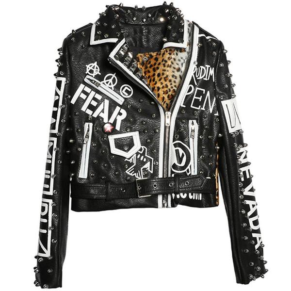 La chaqueta de cuero de manga larga de la motocicleta del remache del leopardo empalmado chaqueta fresca de la motocicleta corto del punk rock de la PU de la capa femenina